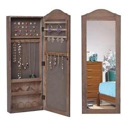 Jewelry Armoire Cabinet Wall Mounted Mirror Lockable Mirrore