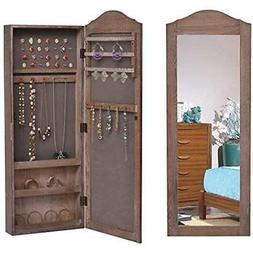 Jewelry Armoire Cabinet Wall Mounted With Mirror Rustic Lock