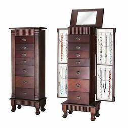 Giantex Jewelry Armoire Chest Cabinet Organizer Wood Bedroom