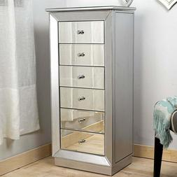 Jewelry Armoire Mirrored Chest Cabinet Silver Storage Organi
