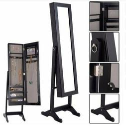 Jewelry Armoire Mirrored Wood Cabinet Necklace Organizer Mak