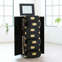 Jewelry Box Armoire Black Gold Tall Cabinet Storage Trunk St