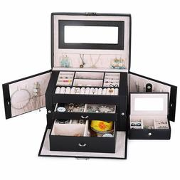 Jewelry Box For Women Girls Case Armoire Storage Lockable Or