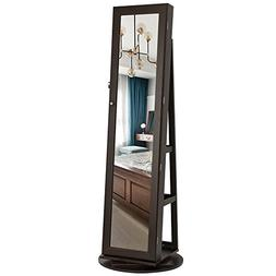 jewelry cabinet armoire 360 rotatable higher mirror