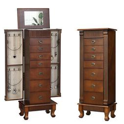 Jewelry Cabinet Armoire Box Storage Chest Stand Organizer Wo