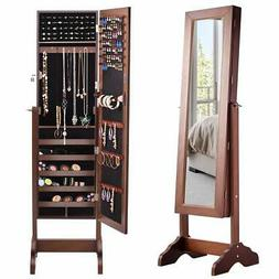 Giantex Jewelry Cabinet Armoire Mirror Lockable Storage Adju