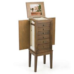Jewelry Cabinet Armoire Utility Standing Chest w/Drawers & M