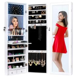 Jewelry Cabinet Armoire with Inside Mirror and LED Lights Ho