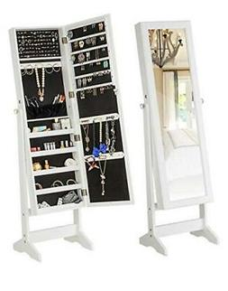 Jewelry Cabinet Free Standing Large Storage Lockable Armoire