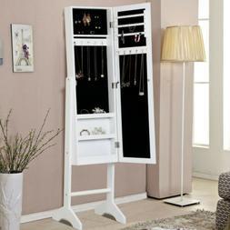 Jewelry Cabinet Lockable Armoire Storage Stand Organizer w/