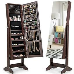 Jewelry Cabinet Stand Armoire Box Lockable Organizer w/ Full