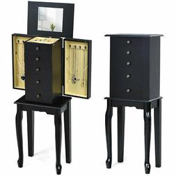 Jewelry Cabinet w/ Mirror Armoire Storage Box Chest Standing