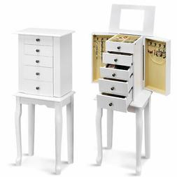 Jewelry Cabinet w/ Mirror Armoire Storage Chest Stand Organi