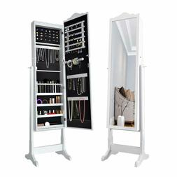 ELEGANT Free Standing Jewelry Cabinet with Mirror LED White