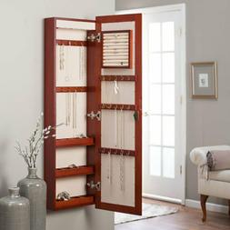 Jewelry Wall Mount Armoire LED Lights Storage Mirror Wood  C