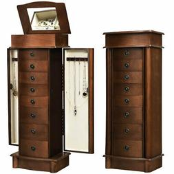 Jewelry Wood Cabinet Armoire Storage Chest Box Stand Organiz