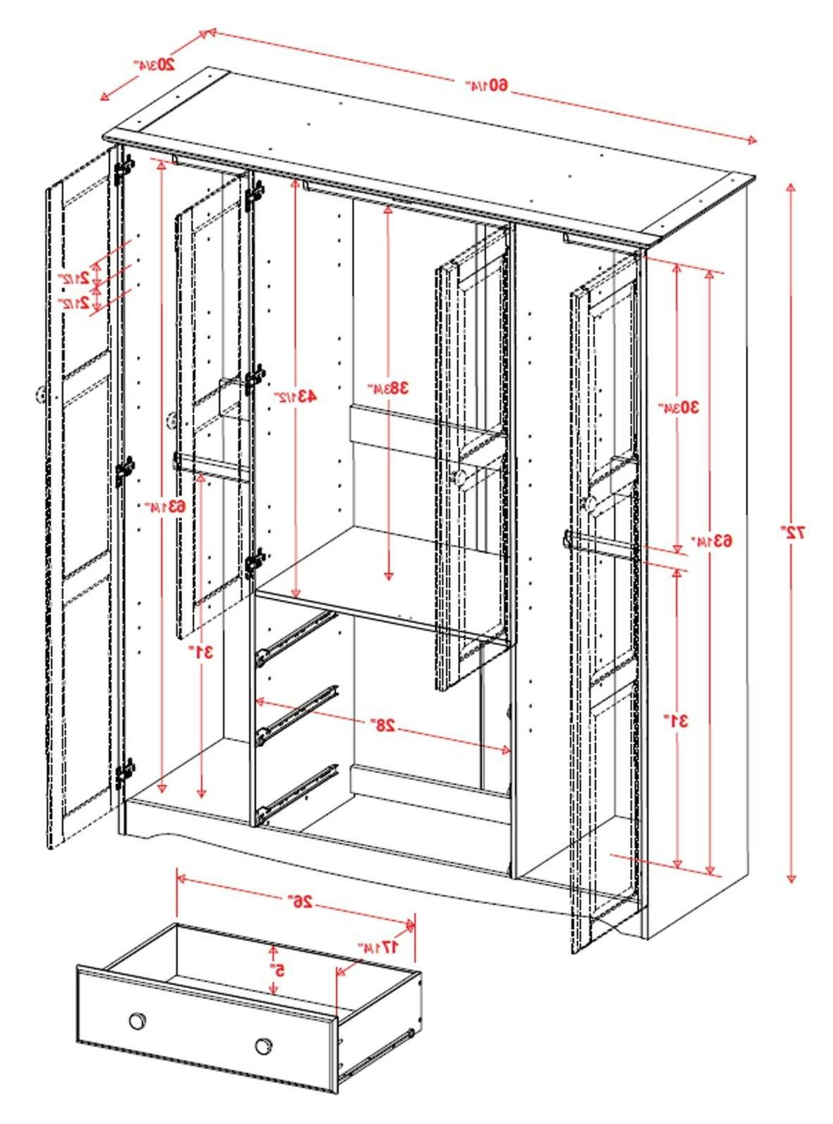 100% Wardrobe/Armoire/Closed, Colors. Shelves Included