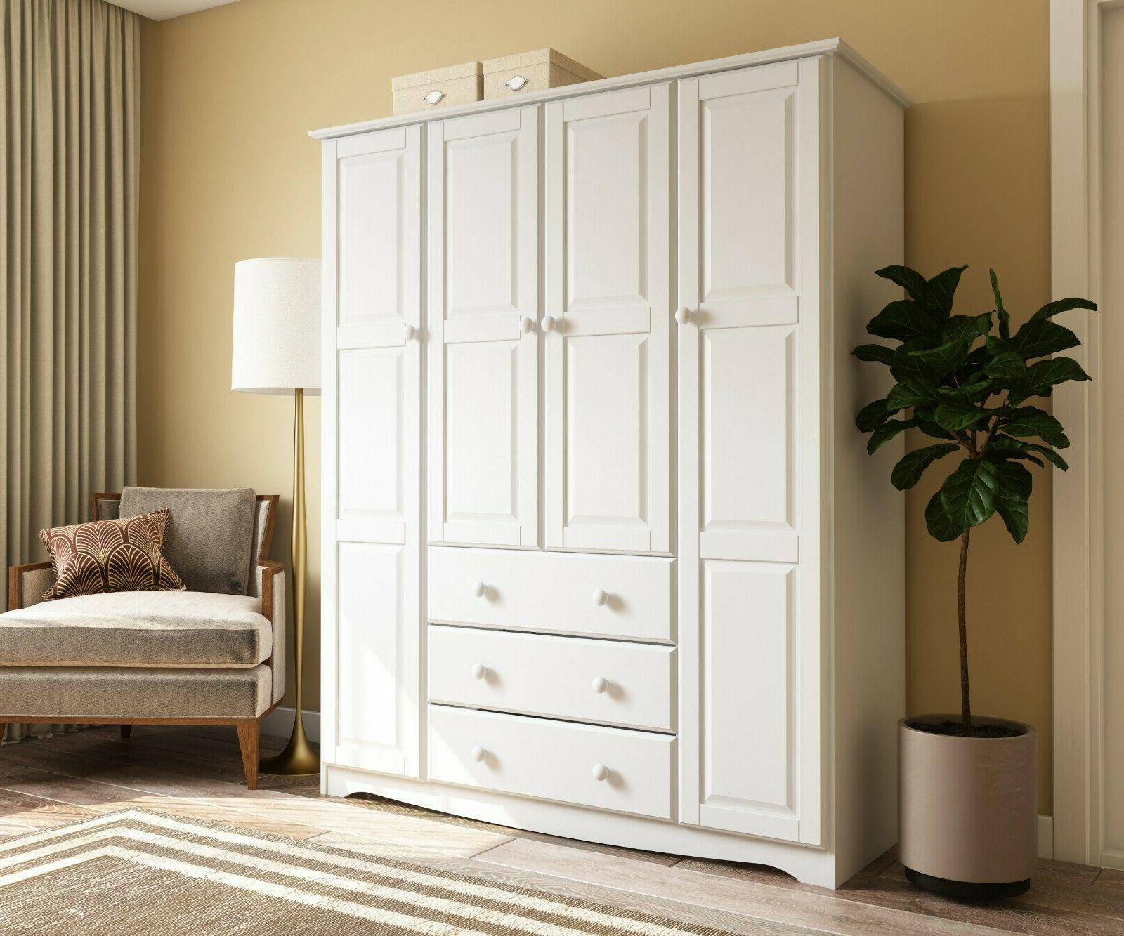 100 percent solid wood family wardrobe armoire