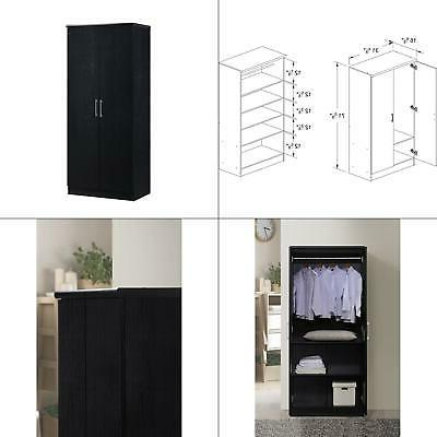 2 Door Armoire - Finish: Black