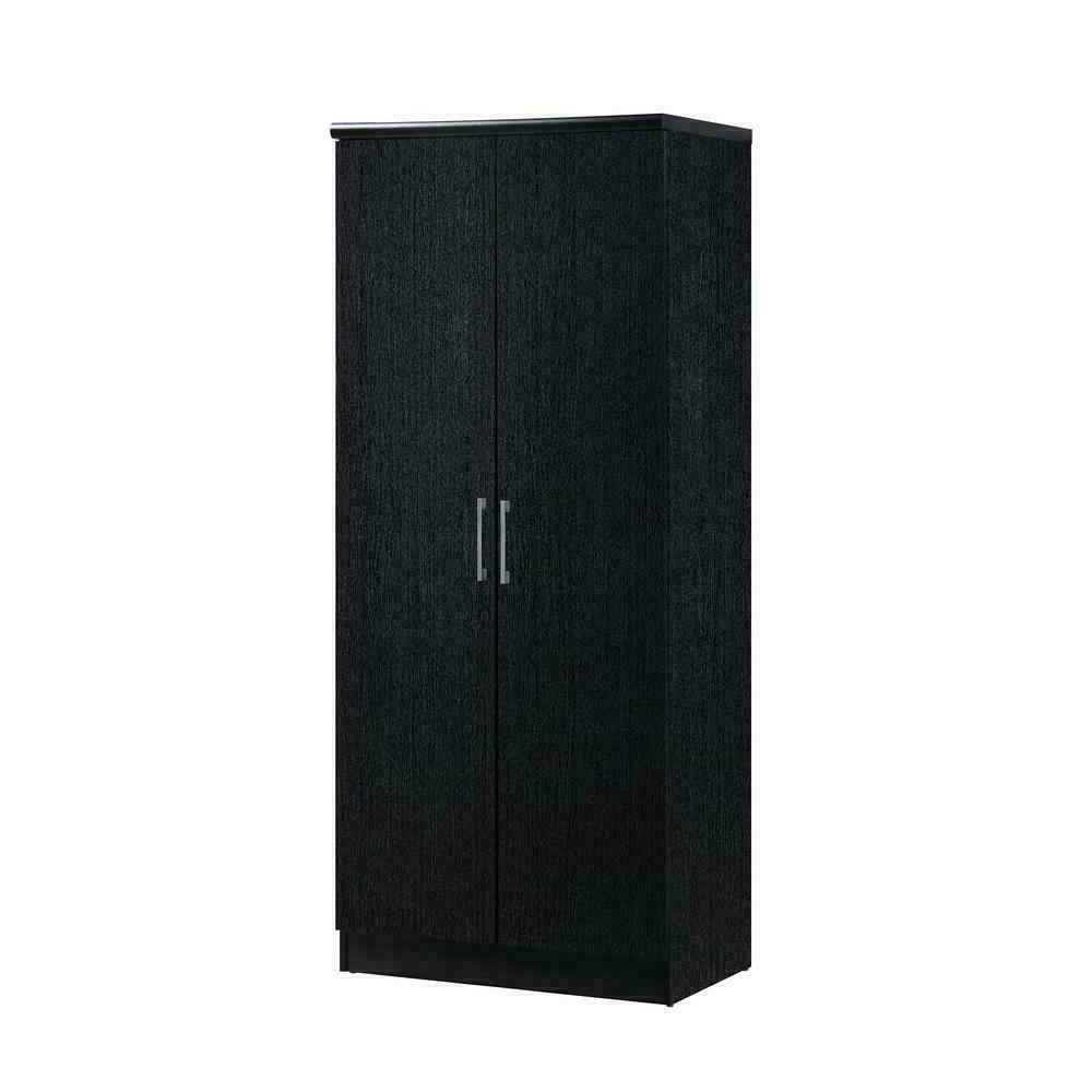 2-Door Black Armoire with Shelves Wardrobe Hanging Rod Hoded