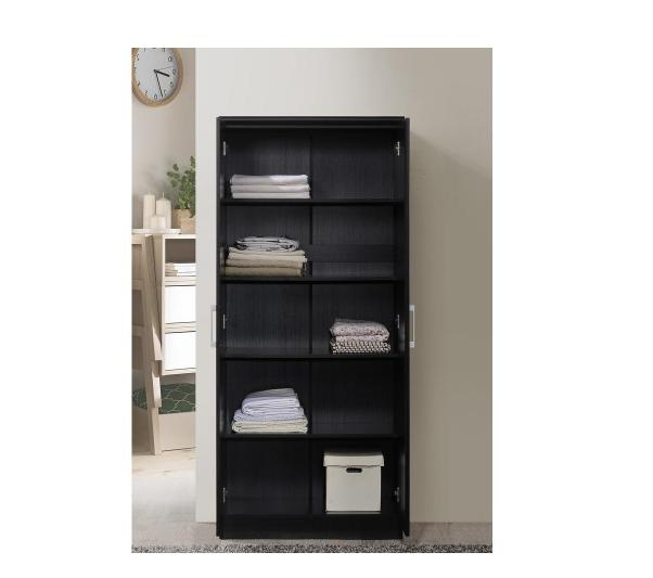 2-Door Black Wood Closet