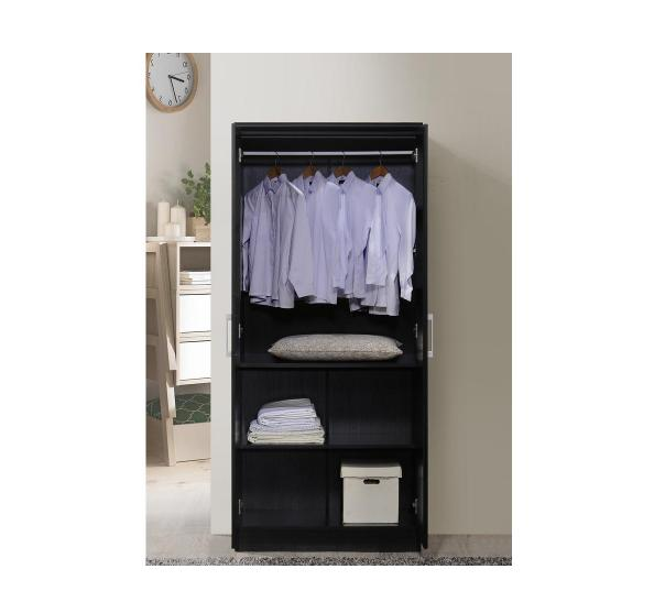 2-Door Black Shelves Wardrobe Wood