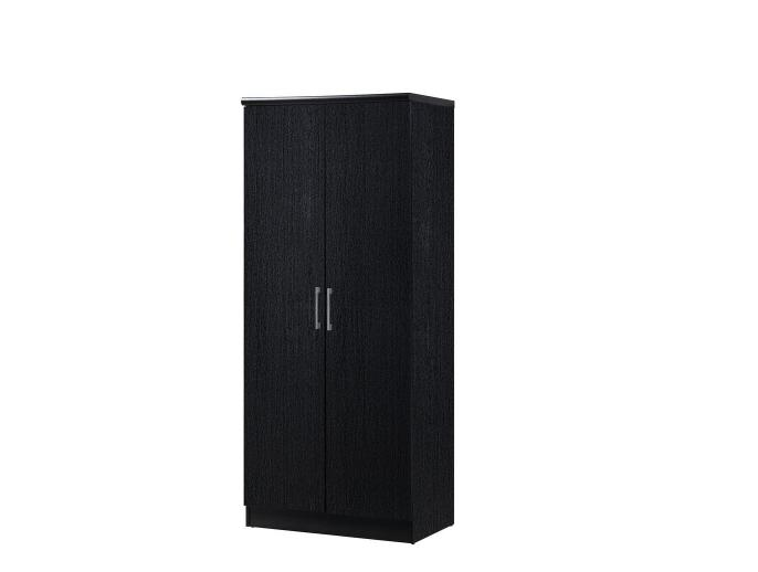 2 door black armoire with shelves wardrobe