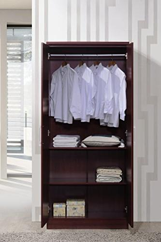 Hodedah 2 Wardrobe with Adjustable/Removable Hanging Mahogany