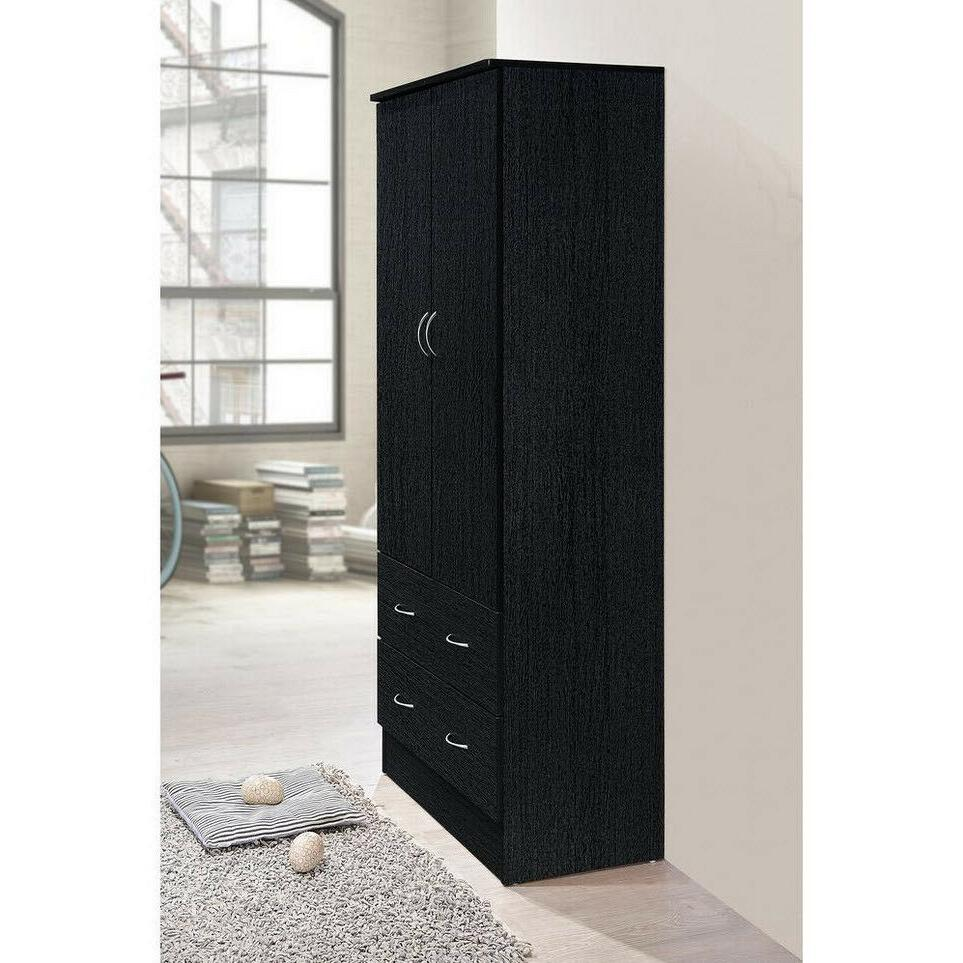 2-DOOR WARDROBE ARMOIRE 2-Drawers Storage