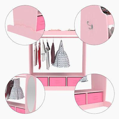 3 Armoire Dress Up w/ Clothes Hook Bins Pink