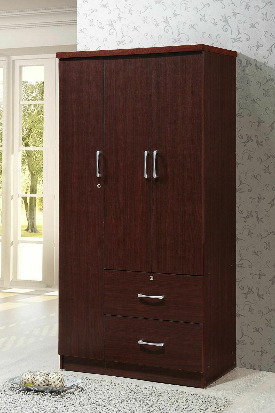 3-Door Bedroom Armoire w/ Drawers Closet Cabinet Clothes Sto