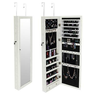 """47"""" Wall Mount Mirrored Jewelry Cabinet Armoire w/ LED"""