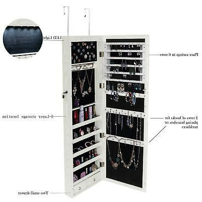 """47"""" Mirrored Jewelry Cabinet Armoire w/ LED"""