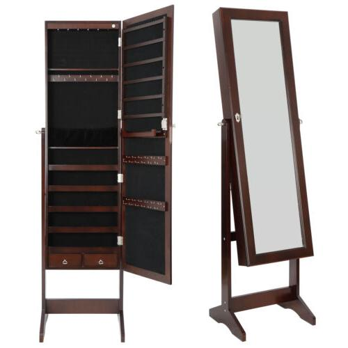 6 LEDs Mirror Jewelry Cabinet Armoire, Lockable Free Standin