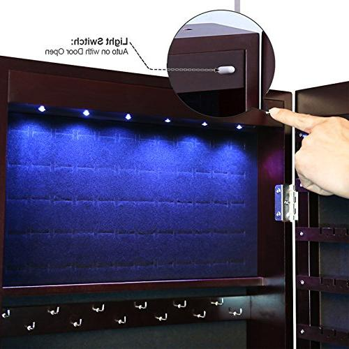 SONGMICS LEDs Cabinet Wall/Door Jewelry Mirror Drawers UJJC93K