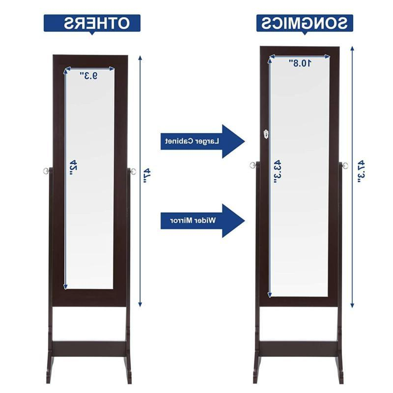SONGMICS Cabinet Lockable Jewelry Armoire Organizer Brow