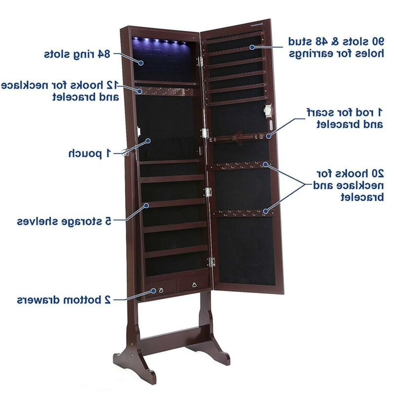 SONGMICS 6 Jewelry Cabinet Lockable Standing Armoire Organizer