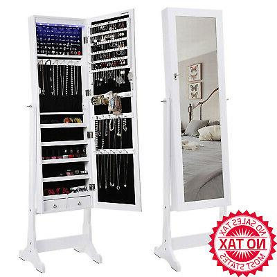 6 leds jewelry cabinet lockable standing mirrored