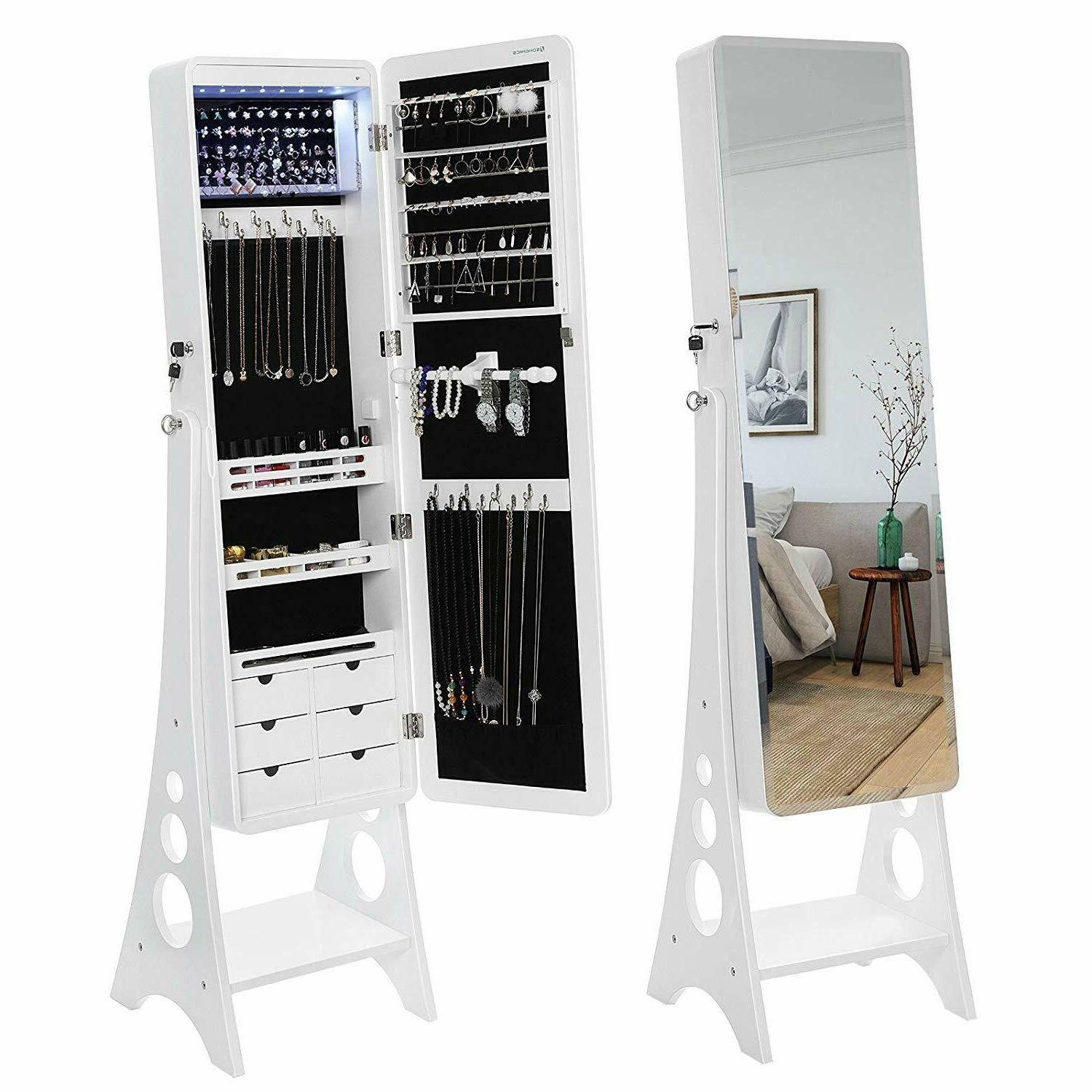 SONGMICS LED Cabinet Standing Armoire Organizer
