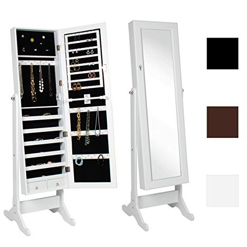 Best Choice Products Mirrored Jewelry Cabinet Armoire w/ Sta