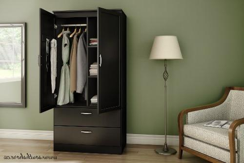 South Wardrobe Armoire with Adjustable Shelves Drawers, Pure