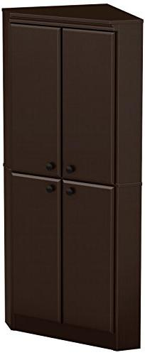 South Shore - Morgan 4-door Corner Armoire - Chocolate