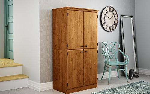 South Shore Tall 4-Door Storage Cabinet with Adjustable Shelves,