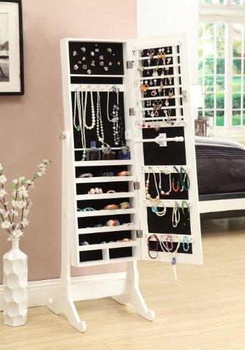 White Mirrored Jewelry Cabinet Armoire Stand Mirror Rings, Bracelets
