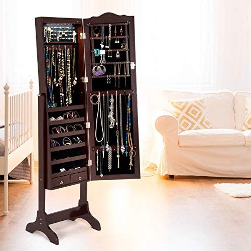 Giantex Organizer Cheval Lockable with Auto-on LED Lights Full Length Cabinets, Floor Standing Jewelry Box with 2