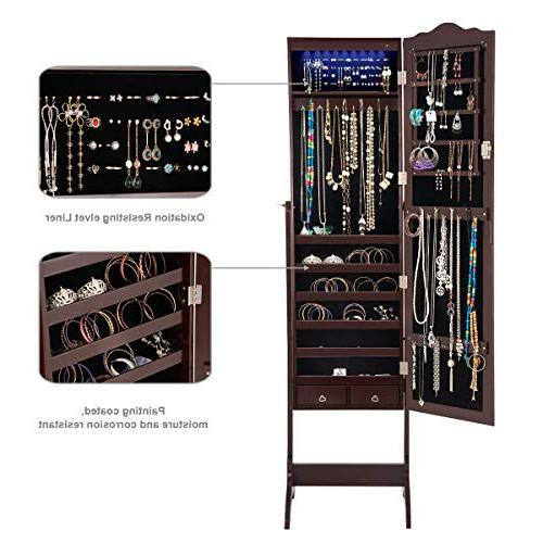 Giantex Jewelry Organizer with Mirror, Lockable with Auto-on Lights Full Length Mirrored Floor Standing Box