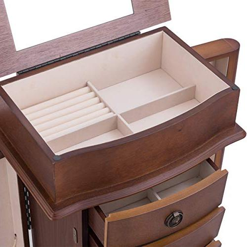 Giantex Jewelry Stand with 8 Divided Organizer Flip Large Side Cabinets, 8