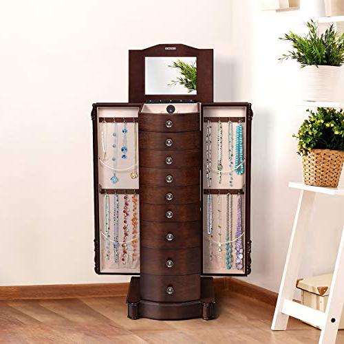 """Giantex Jewelry Armoire Chest 17"""" Wide Stand Large Doors Mirror Boxes, Standing Armoires Jewelry 8"""