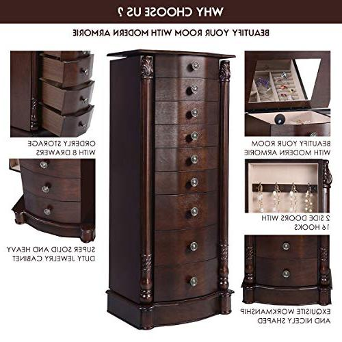 """Giantex 40"""" Chest Heavy 17"""" Large 2 Doors 16 Hook Mirror Boxes, Standing Armoires Jewelry w/ 8"""