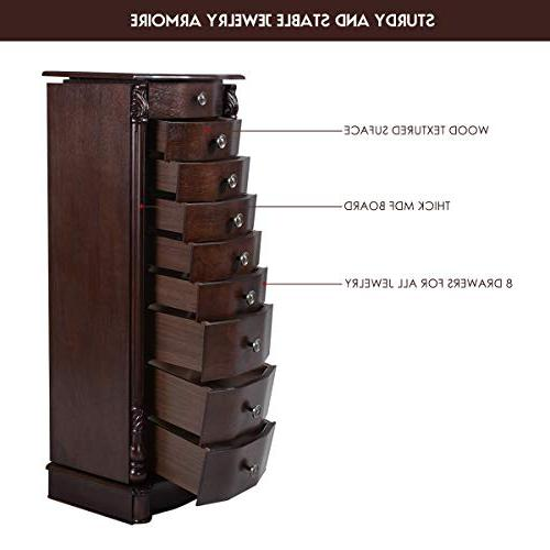"""Giantex 40"""" Chest Cabinet, Duty 17"""" Large Doors 16 Hook Top Mirror Boxes, Armoires 8 Drawers,Walnut"""